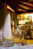 Wine glasses on cafe table Stock Image