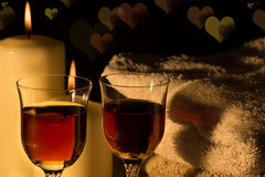 Wine glasses with candlelight Royalty Free Stock Photos