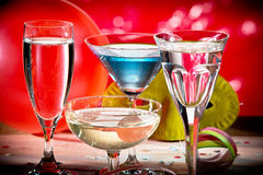 Wine Glasses With Carnival Decoration Royalty Free Stock Photography