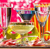 Wine Glasses And Carnival Mask Royalty Free Stock Image