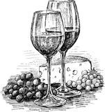 Wine glasses and cheese stock illustration