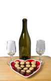 Wine glasses chocolate peanut butter cookies Royalty Free Stock Photos