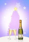 Wine and glasses for Christmas Stock Image