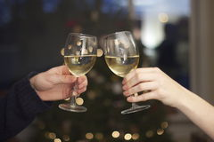 Wine Glasses Clinking Royalty Free Stock Photos