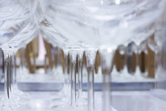 Wine Glasses Closeup. Closeup picture of wine glasses lined up in a row. Shot with canon 350d and 50mm Lens Stock Images
