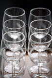 Wine glasses. Color detail of some empty wine glasses stock photography