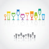 Wine glasses. Colored and gray sets of wine glasses in vector Royalty Free Stock Images