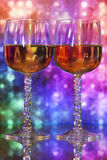 Wine glasses with colorful background Royalty Free Stock Image