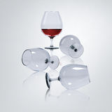 Wine in glasses. 3D render image of red wine, White wine and water in glasses Royalty Free Stock Photos