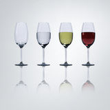 Wine in glasses. 3D render image of red wine, White wine and water in glasses,High resolution with clipping path Stock Photography
