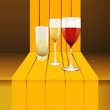 Wine glasses on 3D step Royalty Free Stock Images