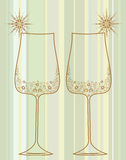 Wine glasses with decorative elements Stock Photography