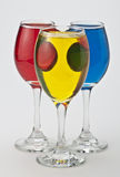 Wine glasses with different colors Stock Photography
