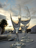 Wine glasses on dining table Royalty Free Stock Photos