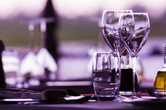 Wine Glasses. Empty wine glasses in a elegant restaurant Royalty Free Stock Images