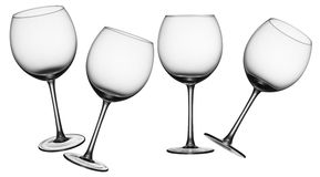 Wine glasses. Empty wine glasses in four different angles royalty free stock images
