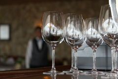 Wine glasses empty Stock Photos