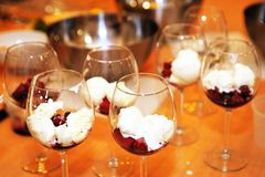 Wine glasses filled with dessert Royalty Free Stock Photos