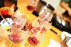 Wine glasses filled with dessert Royalty Free Stock Photo