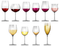 Wine glasses filled with red and white wine. Illustration Royalty Free Stock Photography