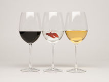 Wine glasses with a fish Stock Images