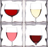 Wine Glasses in Front of Glass Bricks Stock Images