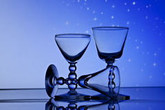 Wine glasses in front of starry sky Stock Photography