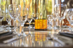Wine Glasses and Glass Buddha Royalty Free Stock Photo