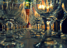 Wine Glasses with Globe Stock Photography
