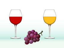 Wine glasses and grape. Illustration of red wine, white wine glasses and grape Stock Photos
