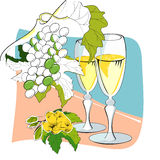 Wine glasses and grapes Royalty Free Stock Photo
