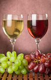 Wine glasses and grepes royalty free stock photos