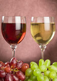 Wine glasses and grepes royalty free stock photo