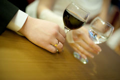 Wine glasses in hand Stock Photo