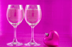 Wine glasses and heart Stock Photography