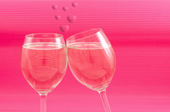 Wine glasses and heart Royalty Free Stock Images