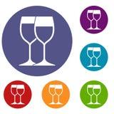 Wine glasses icons set Stock Photos