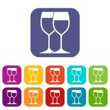 Wine glasses icons set Royalty Free Stock Images
