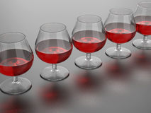 Wine glasses illustration. 3D rendered illustration of multiple wine glasses arranged in a row. The composition is positioned over a black reflective background Stock Photo