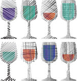 Wine glasses illustration Royalty Free Stock Image