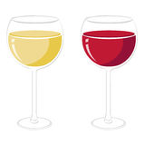 Wine glasses vector. Illustration of red and white wine glasses isolated + vector eps file Royalty Free Stock Photo