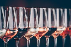 Wine Glasses In A Row. Buffet Table Celebration Of Wine Tasting. Nightlife, Celebration And Entertainment Concept Royalty Free Stock Images