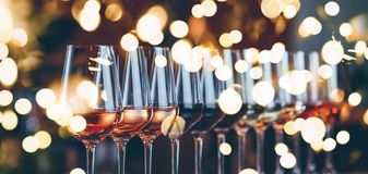 Wine Glasses In A Row. Buffet Table Celebration Of Wine Tasting. Nightlife, Celebration And Entertainment Concept Stock Photos