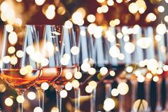 Free Wine Glasses In A Row. Buffet Table Celebration Of Wine Tasting. Nightlife, Celebration And Entertainment Concept Stock Images - 134903234