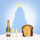 Wine, glasses and Italian panettone Royalty Free Stock Image