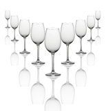Wine glasses in line Royalty Free Stock Image