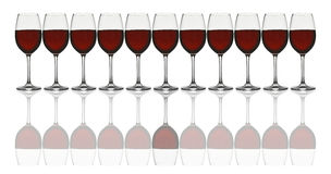 Wine glasses in line Stock Images