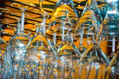 Wine glasses lined up. In the bar Royalty Free Stock Images