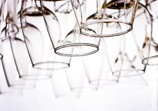 Wine glasses lined up. In the  bar Royalty Free Stock Photography