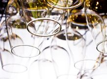 Wine glasses lined up. In bar Stock Photography